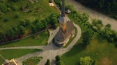 ЮНЕСКО : Aerial view over Barsana Monastery, Maramures - Romania. Wooden church UNESCO world heritage site