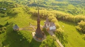 travel : Aerial view over the wooden church in Ieud, Maramures