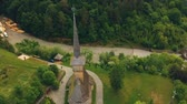 karpaty : Aerial view over Barsana Monastery, Maramures - Romania. Wooden church UNESCO world heritage site