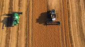 zboże : Summer view of combine harvester machine, in the romanian fields. Aerial view of harvesters Wideo
