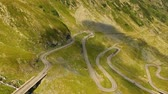 autó : Summer aerial view of Transfagarasan mountain road, Romania