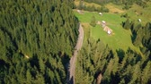 rumunia : Aerial view over the mountain road, in Bucovina