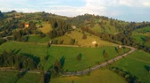 деревня : Aerial view above Sadova village, Bucovina