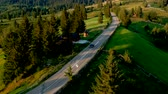 деревня : Aerial view over the mountain road, in Bucovina