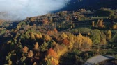 деревня : Aerial view above the romanian village, in autumn Стоковые видеозаписи