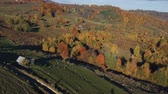 Aerial view above the romanian village, in autumn Stok Video