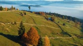 Aerial view above the romanian village, in autumn Wideo