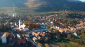 деревня : Aerial view above Rimetea Village, Transylvania - Romania