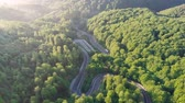 temporadas : Aerial view of mountain road, at sunrise