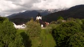 seyahat : Aerial view of Bran Monastery, at the foot of the Carpathians Stok Video