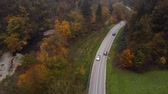 floresta : Autumn view of mountain road through the forest, in Slovenia