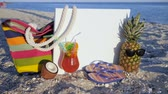 тапочка : exotic fruits on coast near ocean, still life tropical fruits, set for beach holidays, pineapple in sunglasses, coconut colored cocktail on hot sand, flip-flops with fruits and bag on shore sea,