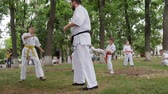 carry out : Kherson, Ukraine - 27 May 2017: City Festival trainer kyokushin spend martial arts training into park, groups children in kimono participate in karate outdoors, sport for kids in open air Stock Footage