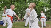 carry out : Kherson, Ukraine - 27 May 2017: City Festival martial arts training in park, sports for kids, boys in kimono participate single fight, karate outdoors, fight children, slow motion Stock Footage