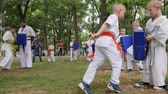 carry out : Kherson, Ukraine - 27 May 2017: City Festival karate outdoors, kids group engage in sports, trainer spend instruction battle girls and boys in kimono, martial arts training in park