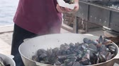 испечь : mussels in their shells, seafood cooked in pan on fire, food prepared on street, takeaway, cooking seafood on pine street, food festival, fast food for city, boiling seashells outdoor Стоковые видеозаписи