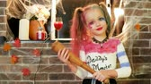 coringa : harley quinn halloween costume, little girl playing crazy character, halloween party celebration, dangerous child, threatens with baseball bat, masquerade at all saints day, time for trick or treat