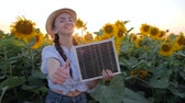 coletor : girl hold solar panel near field of sunflowers and show hand gesture like, environmentally friendly resources, female shows symbol of approval in backlight keeps in hand solar battery Vídeos