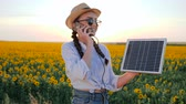 banka : energy generation, woman talk phone and keep solar battery tracking sun to charge battery, girl speaks by mobile phone and holds solar panel in background field of sunflowers Stok Video
