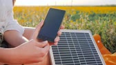 производство : battery charger solar powered outdoor, renewable energy, close up screen cellular telephone, hands girl connects from solar panel to mobile phone outside, cell phone close-up Стоковые видеозаписи