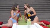 vivid wall : hen-party, Girls in Swimsuit with cocktails in hands sit on colored pillows, Alcoholic rest of young female, Girlfriends in bathing suits drink beverage sitting on Colorful cushion,