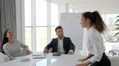 espaçoso : get job in large company, dialog on job with secretary and boss in boardroom, job interview into white and spacious office, female candidate on interview at modern office at slow motion