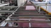 изоляция : transportation of polystyrene along assembly belt line at plant, close-up