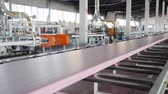 rubber plant : automatic process production of building material from foam plastic at factory with large windows and modern machine-tool