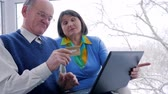 cosiness : lucky senior couple with credit card and computer make internet purchases in room Stock Footage