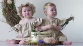 white headband : kids in sweet tasty cake in studio on photo shoot on background of wall with decor