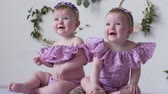 близнецы : small sisters in pink clothes posing on photoshoot on background of wall with decor closeup Стоковые видеозаписи