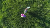 balloon : happy weekend, drone view of teen girl with colored hair is having fun with balloons on green lawn Stock Footage