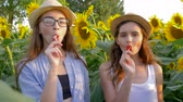helianthus : portrait of happy adolescents with sweet lollipops in hands smiling on the background of yellow field with sunflowers Stock Footage
