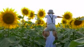 helianthus : summer vacation, teenager girl carrys child on neck and walks across the field with sunflowers in the backlight Stock Footage
