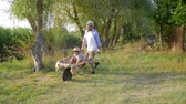 kruiwagen : cheerful father fools around with his little son in a wheelbarrow at countryside, happy family vacation outdoors