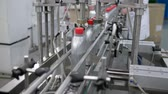 produtos químicos : production of motor oils, automatic conveyor line for closes lids on grey plastic bottles at factory