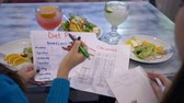hasznos : calorie control, women with diet planning calendar do count calories on sheet of paper during healthy brunch in restaurant close-up