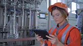 egyenlő : factory profession, Female Engineer in Hard Hat Uses Tablet Computer and makes photos for scanning equipment in Big plant production