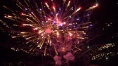 하늘 : colored firework background, beautiful salute at night heaven in slow motion