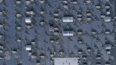 Energy Production, lot environmentally friendly solar battery on roof of house outdoors, aerial survey 무비클립