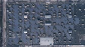 energy-generating technology, extraction of electricity by solar panels on roof of house outdoors, aerial view 무비클립
