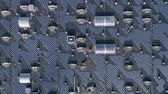 Green technology energy, lot eco solar arrays on roof of house outdoors, aerial view