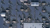 personal solar power station, lot photovoltaic panels for production green Energy on roof of house outdoors, aerial view