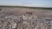 teherautó : landfill near solar panels, aerial top view on workers unloading garbage from trucks and flying seagulls over large rubbish pile