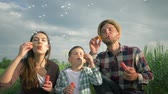 verificador : joyful family blowing soap bubbles in slow motion, small boy with mama and daddy in plaid shirts have fun during holiday at green meadow