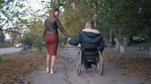 fauteuil roulant : beloved disabled person in a wheelchair holds his wifes hand while walking in the autumn park amid trees