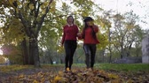 若々しい : cheerful female friends run towards each other clutching their hands and scattering bunch of fallen leaves having fun in autumn park of fall season 動画素材