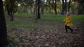 offspring : happy smiling girl have fun running in autumn park during fall foliage on a background of trees Stock Footage