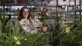 portrait smiling woman buyer in glasses for sight chooses decorative plant creating comfort in your apartment in flower store background of green home plants, concept of decor and design