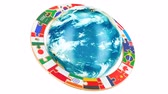 International global communication concept with rotating Earth Globe, 3D rendering isolated on white background